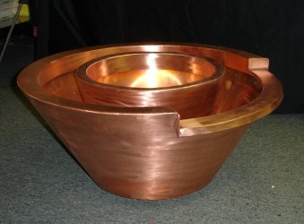 Copper Round Fire-Water Bowl