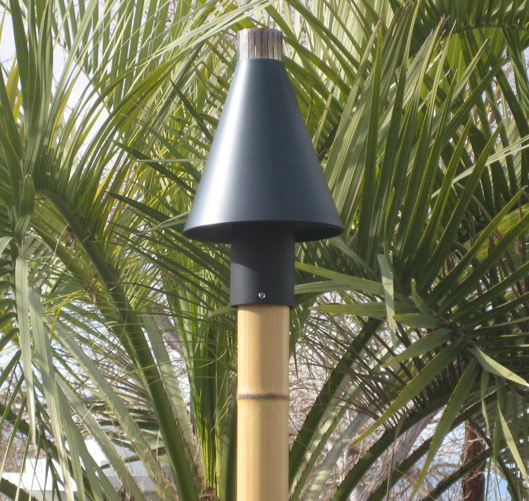 Automated Black Cone Gas Tiki Torch Head Outdoor Fire