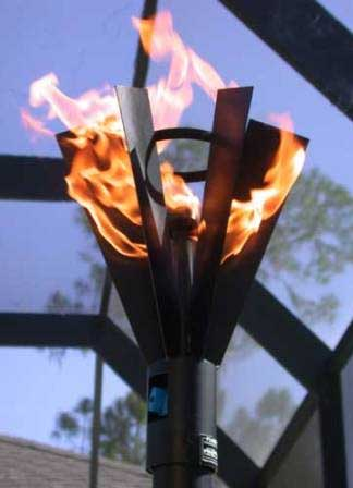 Fin Style Gas Tiki Torch Outdoor Fire Designs